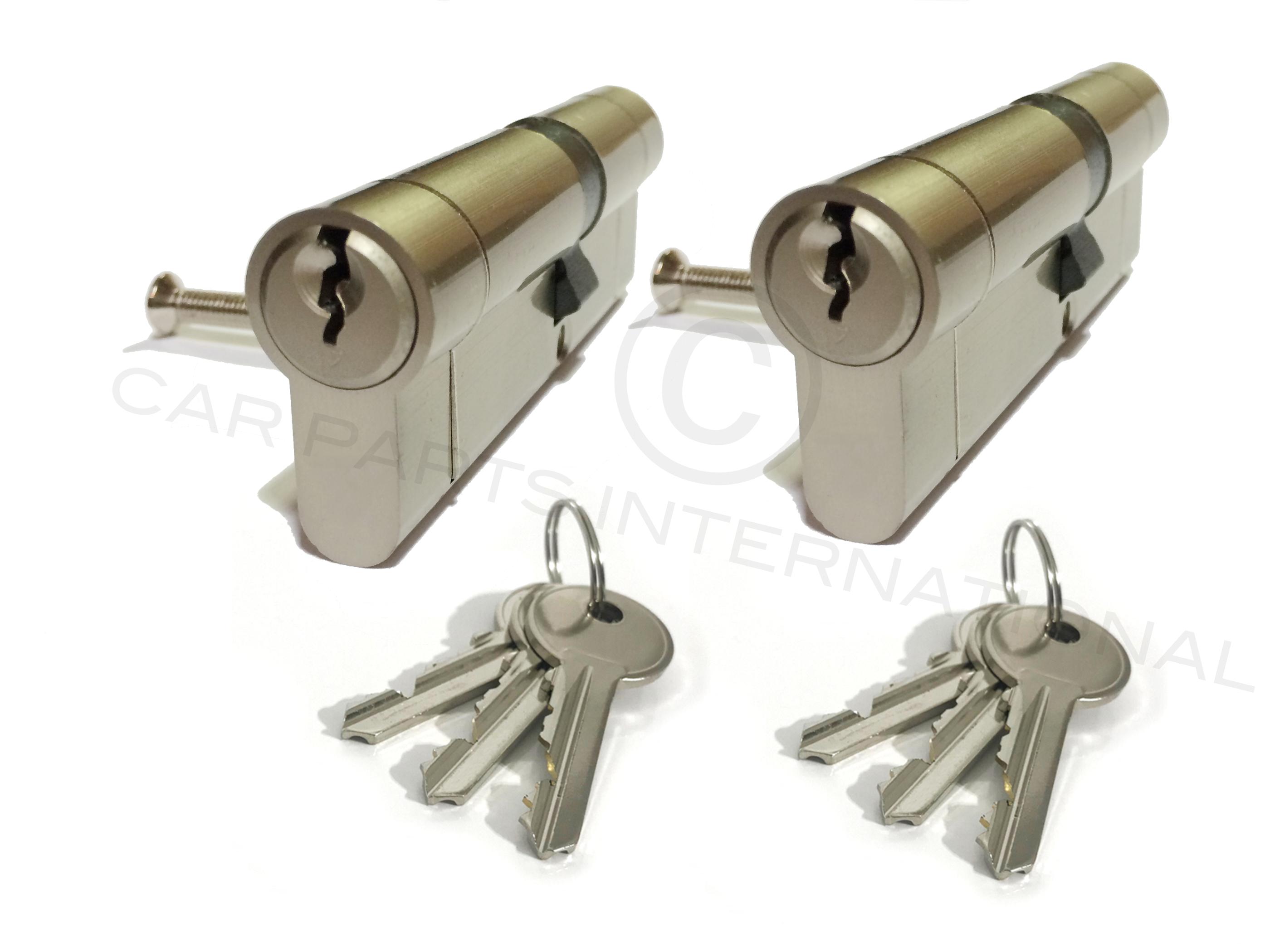 2 x Secure Euro Door Locks 40//60 NICKEL Finish Keyed Alike 3 Keys Per Lock