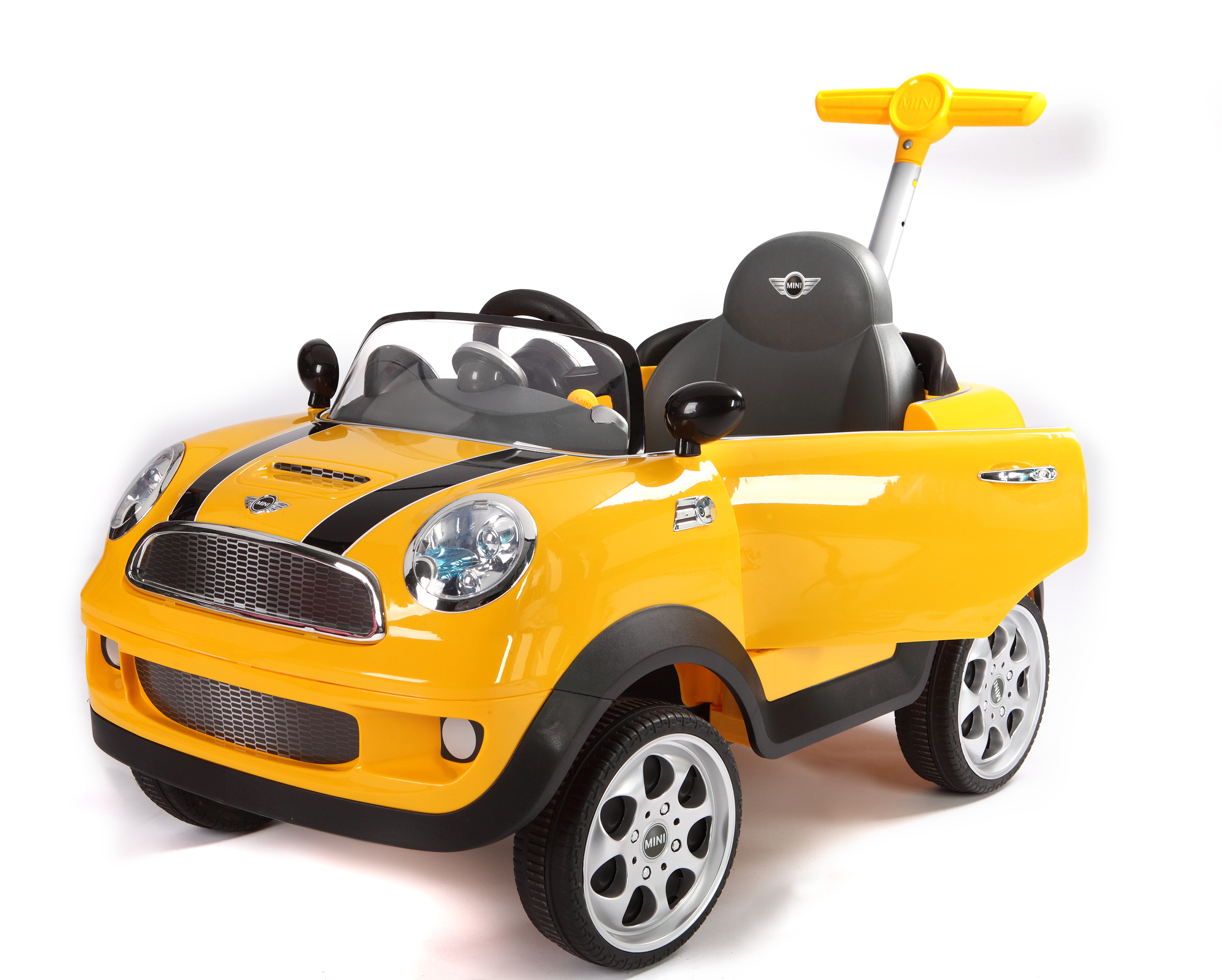 yellow mini cooper s push-car ride-on with handle opening door
