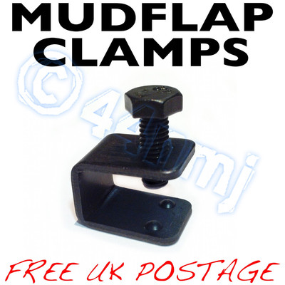 Indexbild 60 - Black or Silver Mudflap Clamps no drilling attachment of Car / Van Mud flaps all