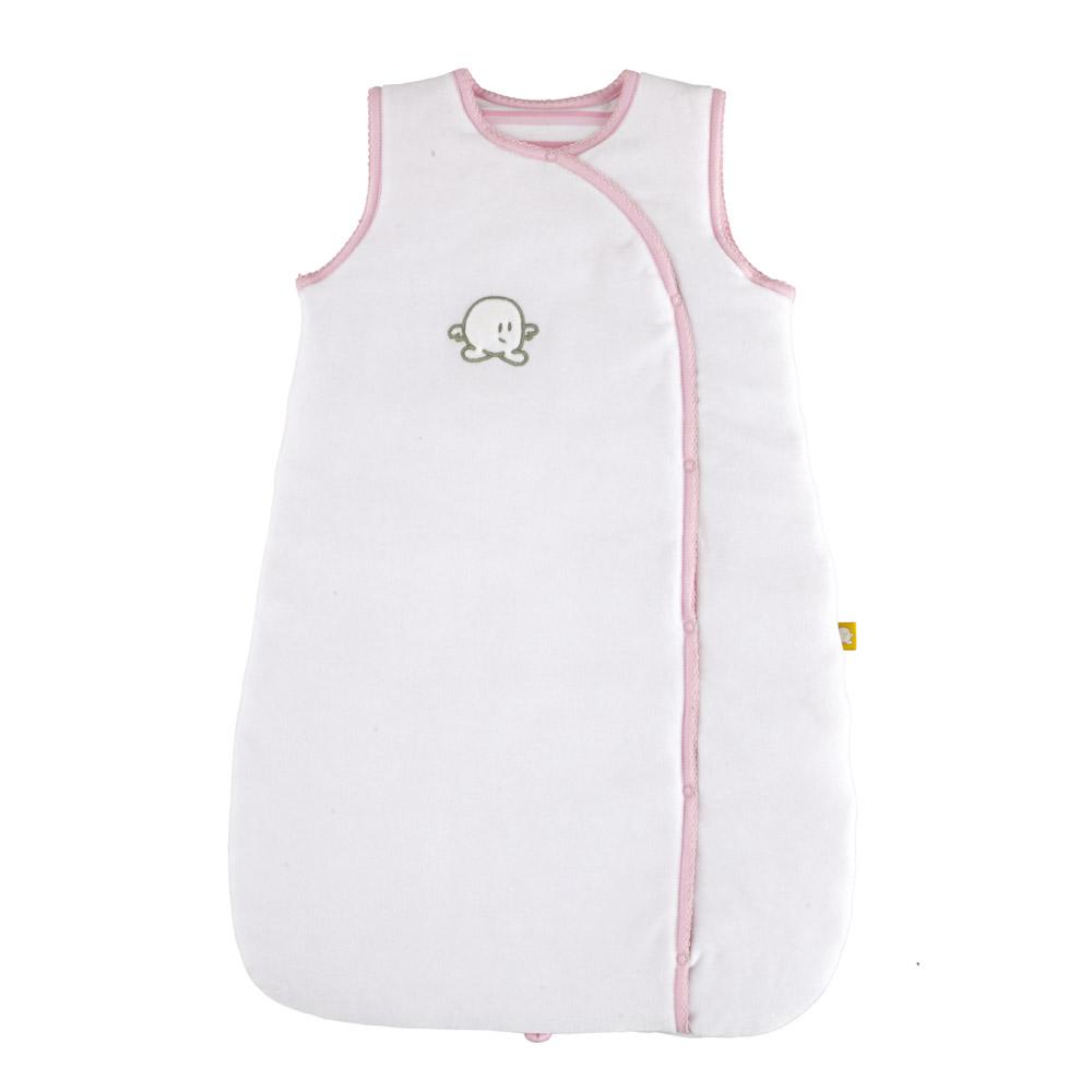 Petit Pim Pink Bunny Baby Girl White Plush Pima Cotton Padded Sleeping Bag
