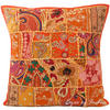 "Orange Patchwork Embroidered Bohemian Sofa Colorful Throw Pillow Couch Cushion Cover - 20"" 1"
