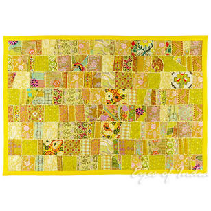 Yellow Decorative Patchwork Embroidered Wall Hanging Boho Tapestry - 40 X 60""