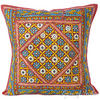 Burgundy Red Patchwork Decorative Bohemian Couch Throw Pillow Boho Cushion Cover - 24""