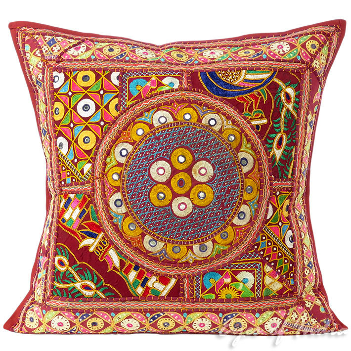Burgundy Red Patchwork Colorful Decorative Bohemian Couch Sofa Throw Pillow Boho Cushion Cover - 24""