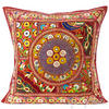 "Burgundy Red Patchwork Colorful Decorative Bohemian Couch Sofa Throw Pillow Boho Cushion Cover - 24"" 1"