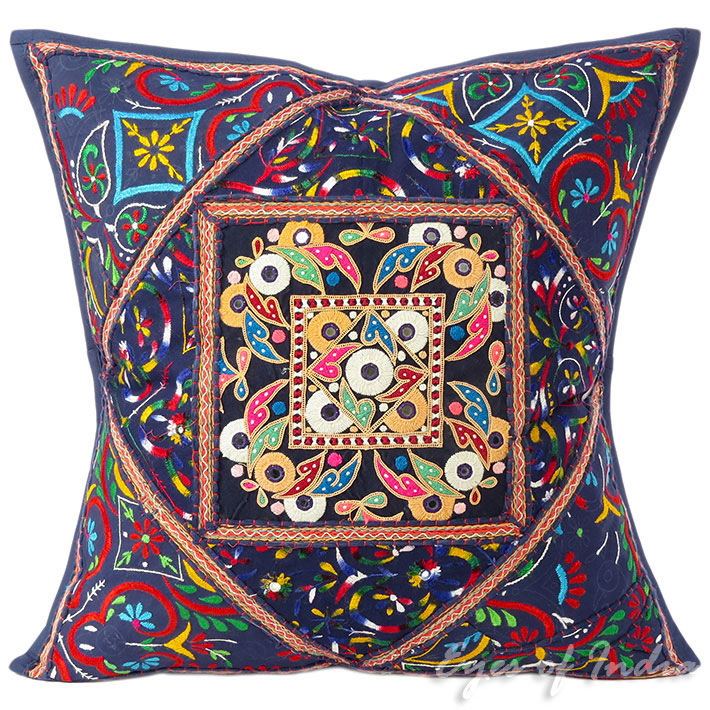 Large Blue Throw Pillow Couch Sofa Cushion Cover Indian Boho ...