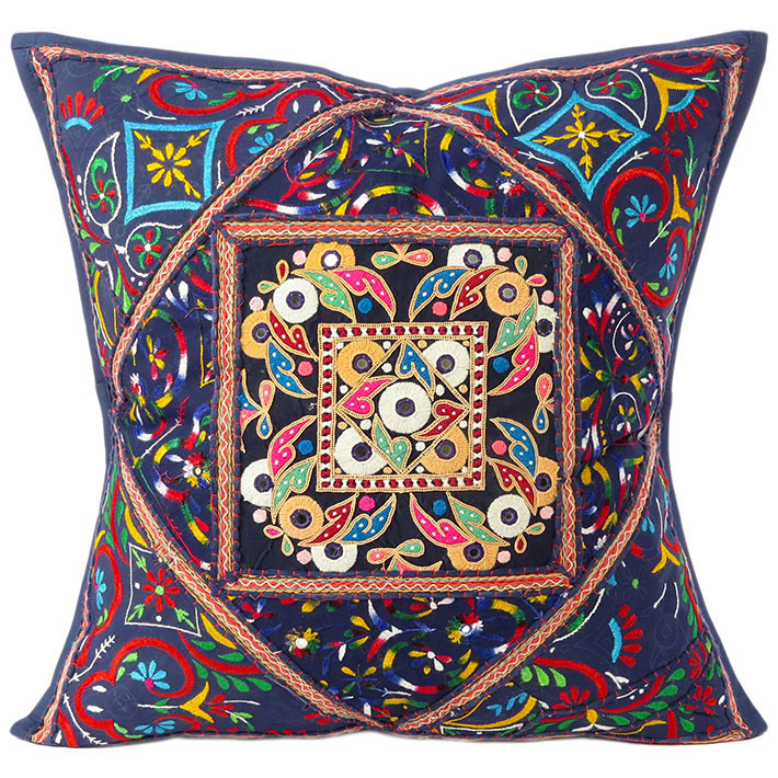 """Large Blue Throw Pillow Couch Sofa Cushion Cover Indian Boho Bohemian Colorful Decorative - 24"""""""