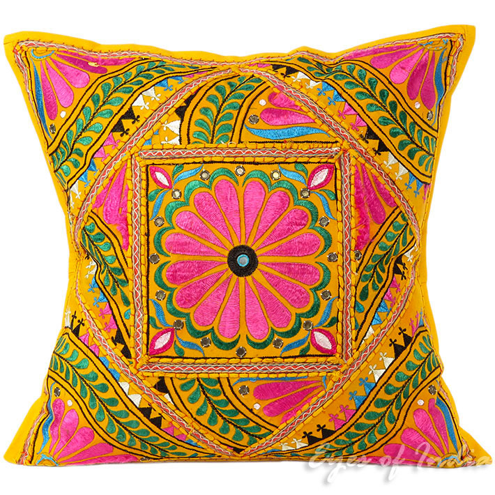 Large Yellow Colorful Decorative Sofa Throw Pillow Couch Cushion Cover Indian Colorful Decorative - 24""