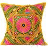 "Large Yellow Colorful Decorative Sofa Throw Pillow Couch Cushion Cover Indian Colorful Decorative - 24"" 1"