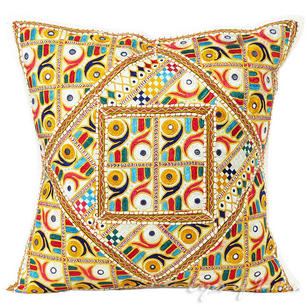 White Patchwork Decorative Couch Throw Pillow Cushion Cover Bohemian Indian Decor - 24""