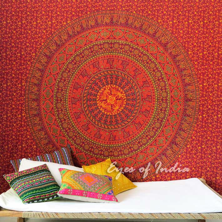 Large Queen Burgundy Red Elephant Indian Mandala Tapestry Bedspread Beach Boho D