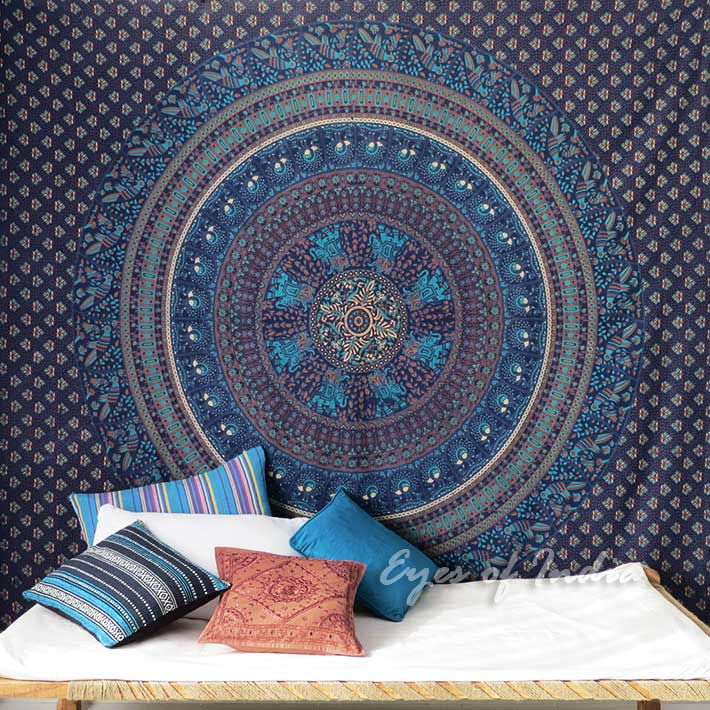 Large Queen Blue Indian Mandala Elephant Bedspread Beach Tapestry Blanket Dorm B
