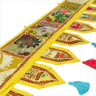 "Yellow Boho Patchwork Window Door Toran Bohemian Valance Hanging Tapestry - 78"""