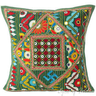 Green Rajkoti Patchwork Decorative Bohemian Pillow Cushion Throw Cover - 16""