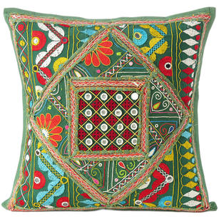 Green Rajkoti Patchwork Colorful Decorative Bohemian Couch Pillow Cushion Sofa Throw Cover - 16""