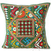 "Green Rajkoti Patchwork Colorful Decorative Bohemian Couch Pillow Cushion Sofa Throw Cover - 16"" 1"