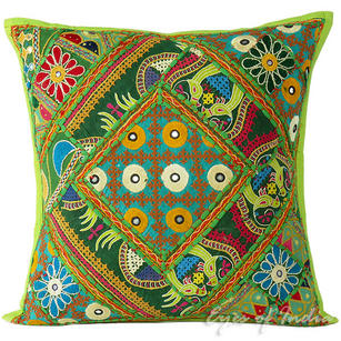 Light Green Rajkoti Patchwork Colorful Decorative Couch Pillow Boho Cushion Sofa Throw Cover - 16""