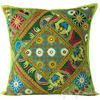 "Light Green Rajkoti Patchwork Colorful Decorative Couch Pillow Boho Cushion Sofa Throw Cover - 16"" 1"