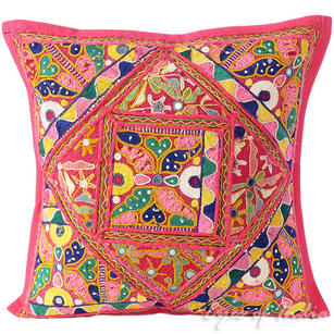 Pink Rajkoti Patchwork Bohemian Colorful Throw Pillow Boho Couch Sofa Cushion Cover - 16""