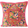 "Pink Rajkoti Patchwork Bohemian Colorful Throw Pillow Boho Couch Sofa Cushion Cover - 16"" 1"