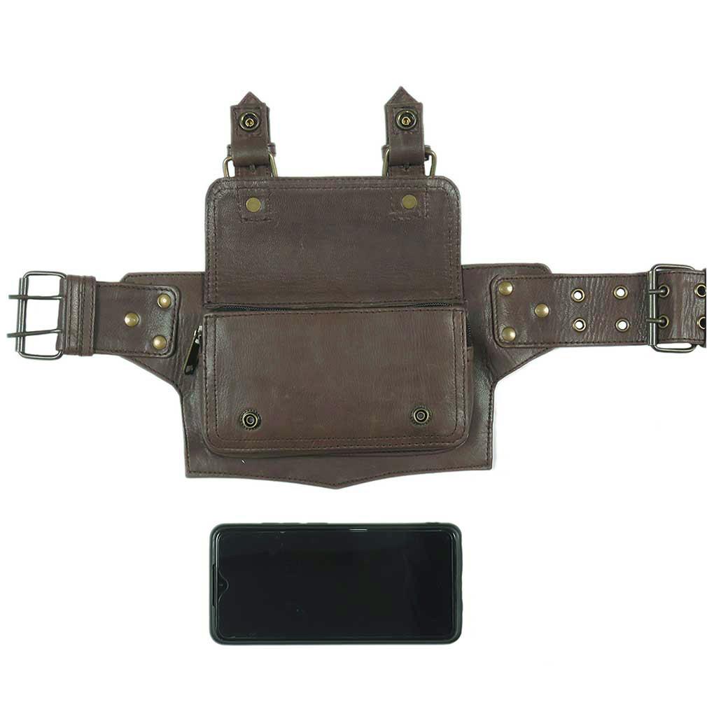 thumbnail 8 - Black Brown Leather Belt Bum Waist Hip Bag Pouch Fanny Pack Utility Pocket Trave