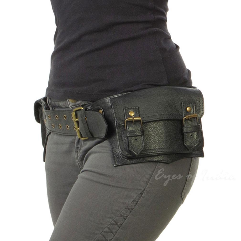 thumbnail 10 - Black Brown Leather Belt Bum Waist Hip Bag Pouch Fanny Pack Utility Pocket Trave
