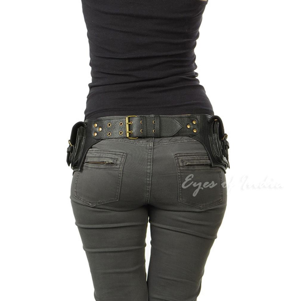 thumbnail 11 - Black Brown Leather Belt Bum Waist Hip Bag Pouch Fanny Pack Utility Pocket Trave