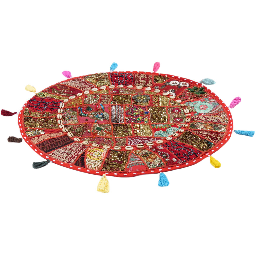 28-034-Red-Patchwork-Floor-Cushion-Seating-Pillow-Throw-Cover-Bohemian-Accent-India thumbnail 39
