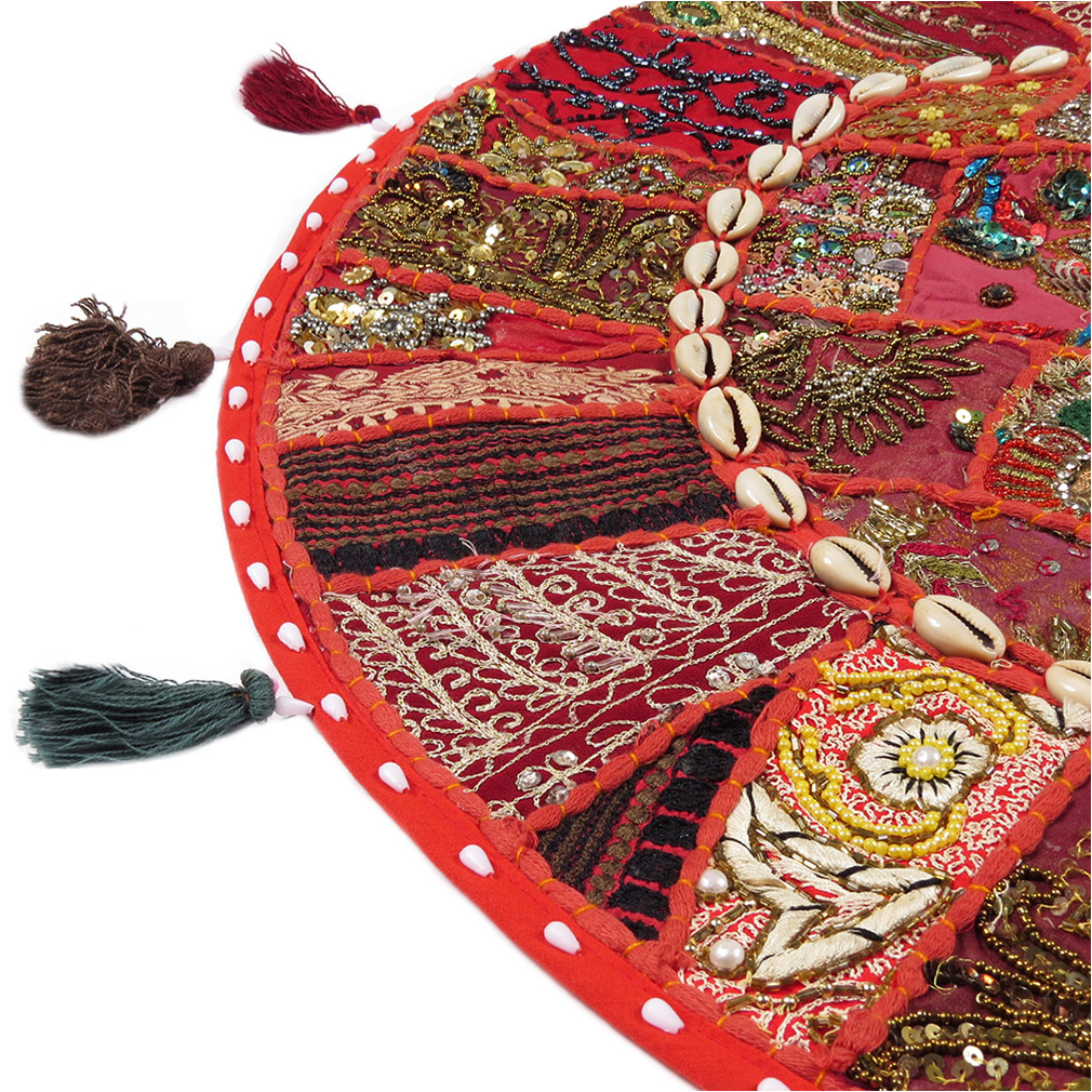 28-034-Red-Patchwork-Floor-Cushion-Seating-Pillow-Throw-Cover-Bohemian-Accent-India thumbnail 40