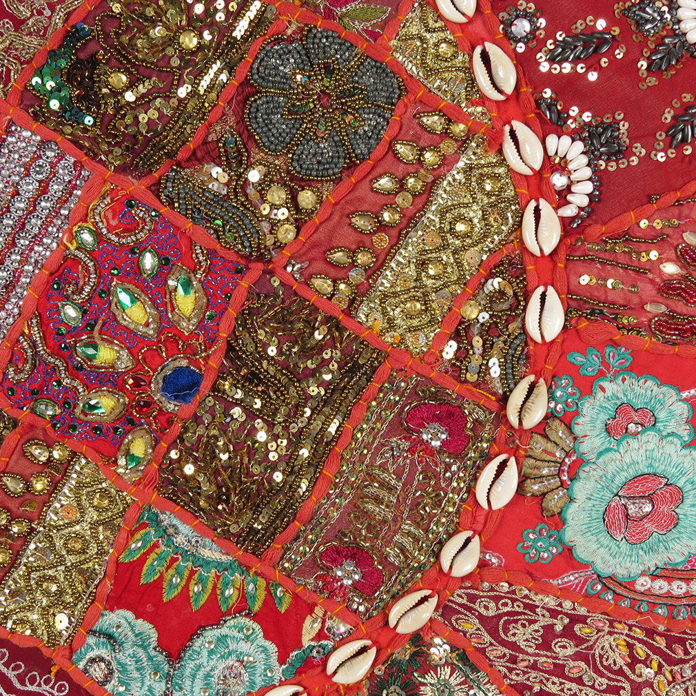 28-034-Red-Patchwork-Floor-Cushion-Seating-Pillow-Throw-Cover-Bohemian-Accent-India thumbnail 41