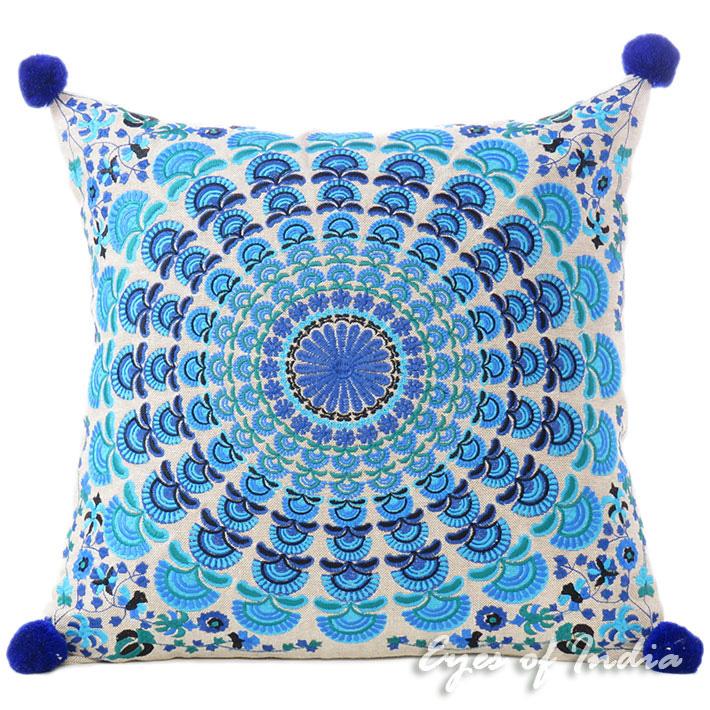 Blue Turquoise Colorful Decorative Embroidered Mandala Boho Couch ...