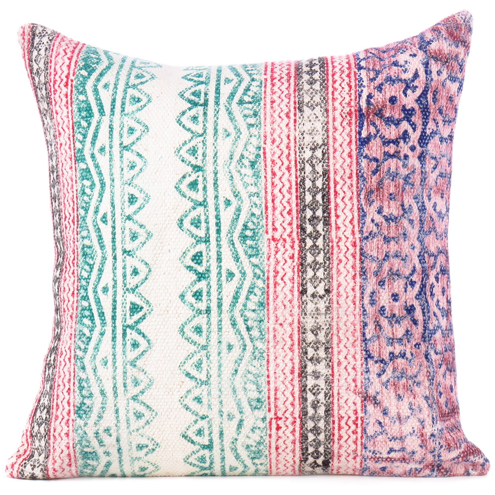 Colorful Pillows For Sofa: Green Dhurrie Patchwork Boho Colorful Decorative Throw