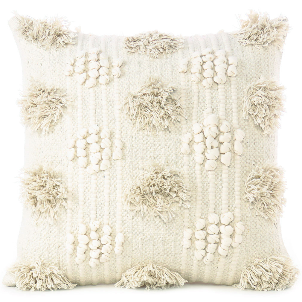 Beige Creame Woven Tuffted Tassel Cushion Pillow Cover