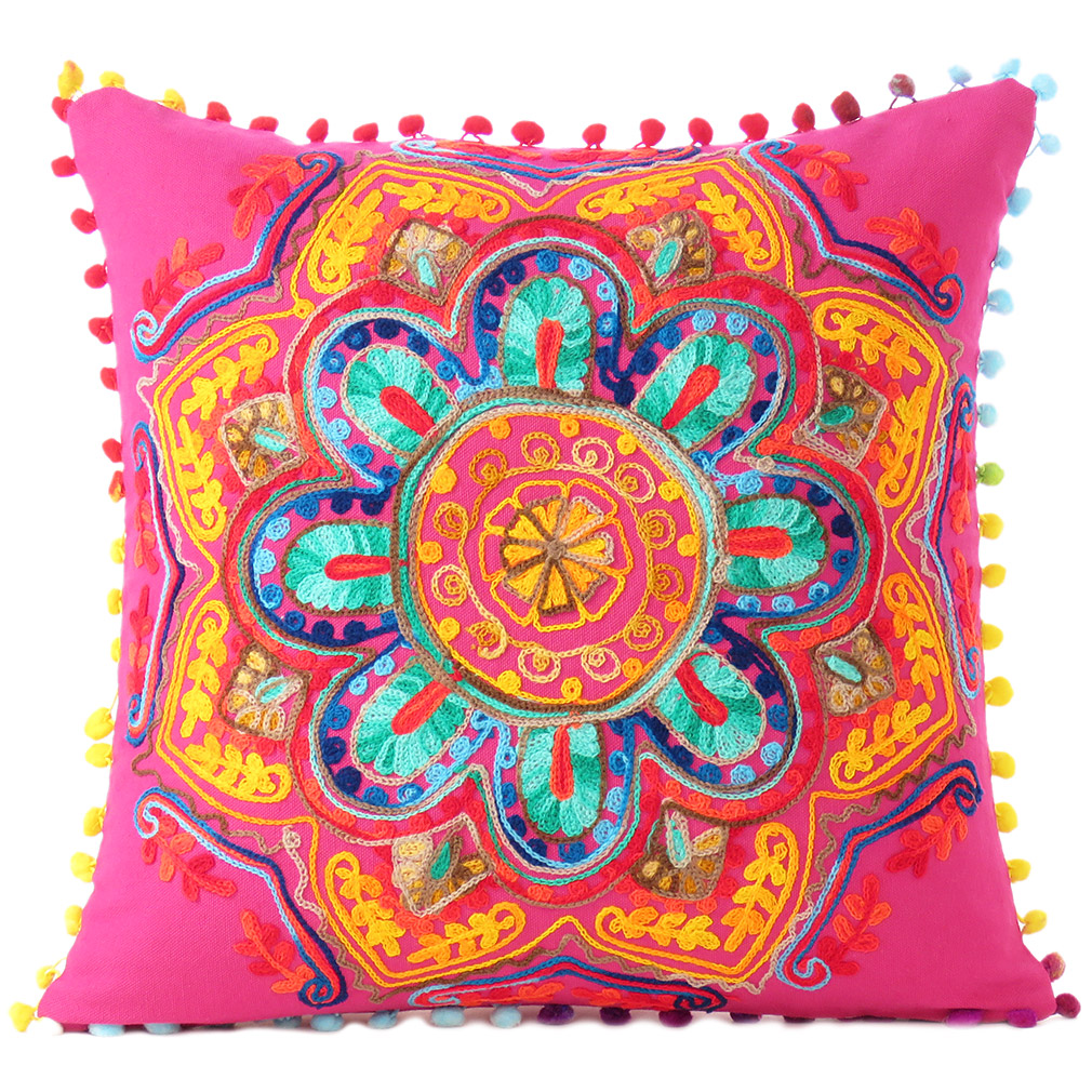 Couch Pillows: Pink Orange Blue Embroidered Colorful Throw Pillow