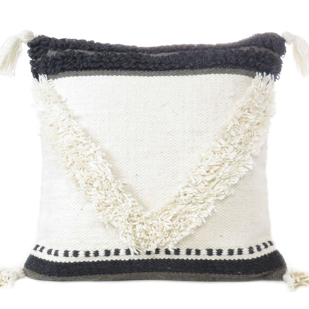 White Black Tufted Woven Fringe Pillow Sofa Throw Tassel