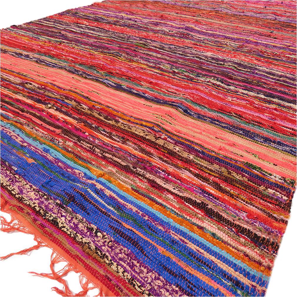 4 X 6 Ft Orange Decorative Colorful Chindi Woven Area Rag