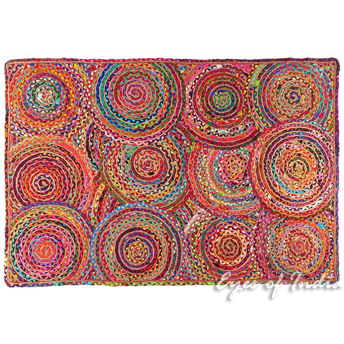 Colorful Pop Boho Woven Jute Chindi Braided Area Decorative Rag Rug