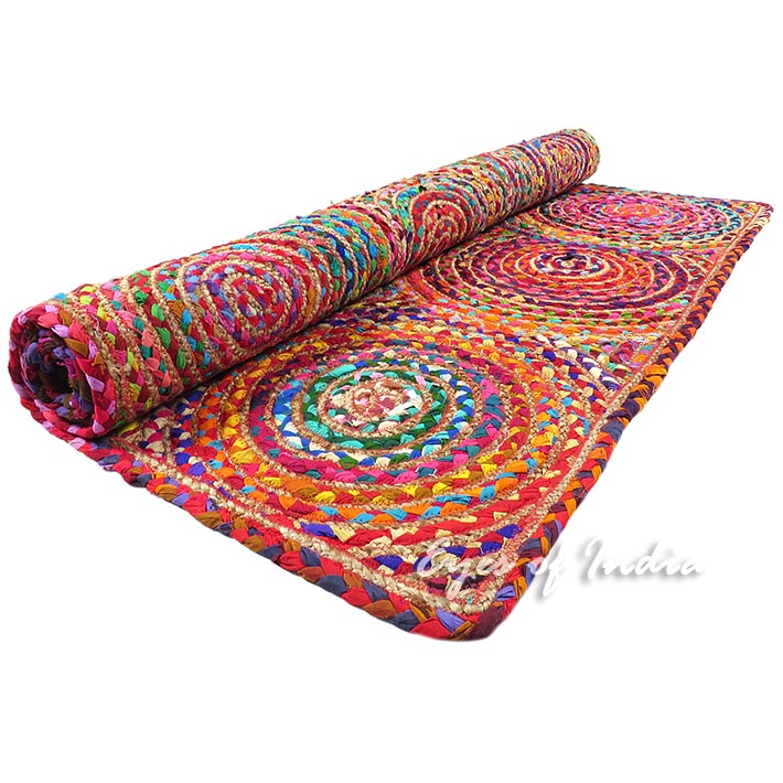 4 X 6 Ft Colorful Woven Jute Chindi Braided Area