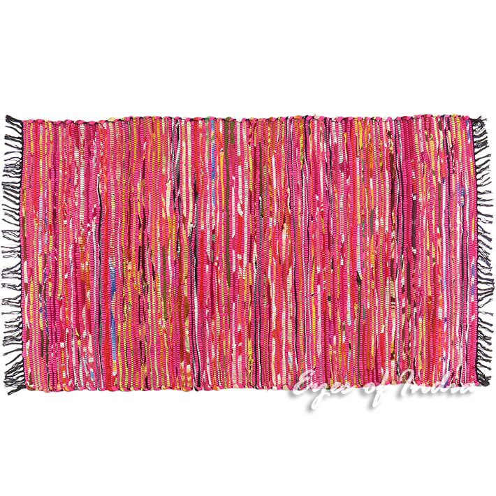 3 X 5 Ft Red Pink Colorful Woven Chindi Rag Rug Boho