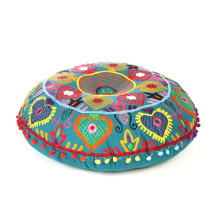 """Teal Blue Green Embroidered Seating Boho Round Floor Meditation Pillow Cushion Pouf Cover - 24"""""""