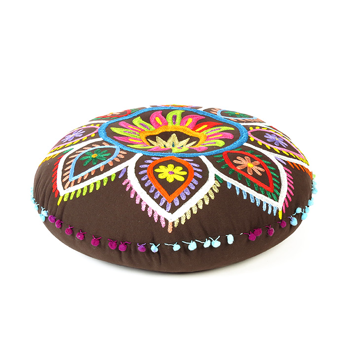 """Brown Boho Embroidered Decorative Seating Bohemian Round Floor Pillow Meditation Cushion Pouf Cover - 24"""""""