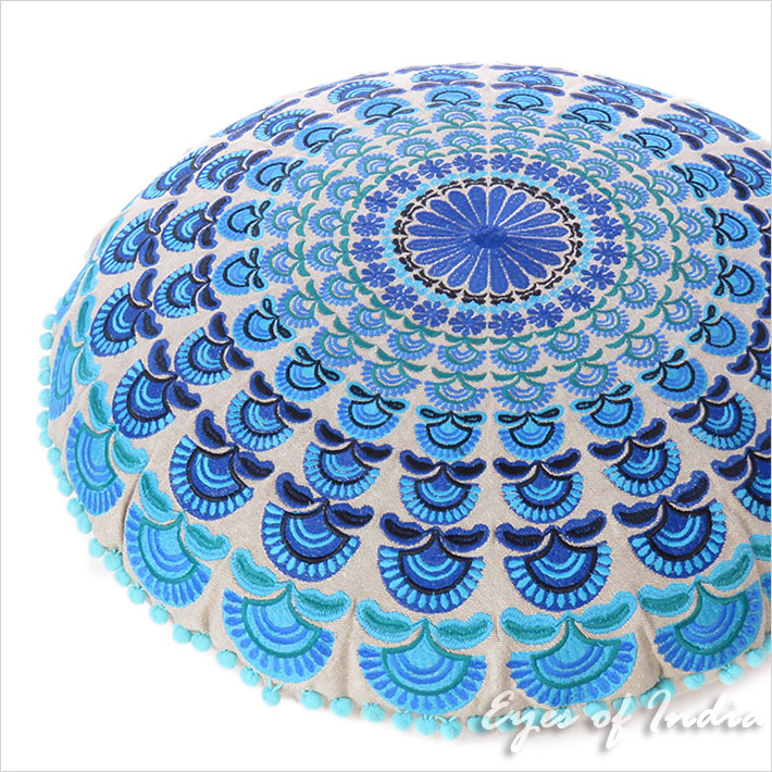 """Blue Turquoise Embroidered Boho Mandala Round Floor Pillow Meditation Cushion Seating Throw Cover - 24"""""""