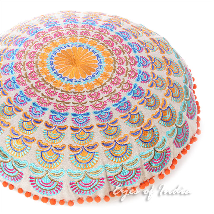 Orange Purple Round Embroidered Mandala Floor Meditation Cushion Pillow Seating Throw Cover - 24""