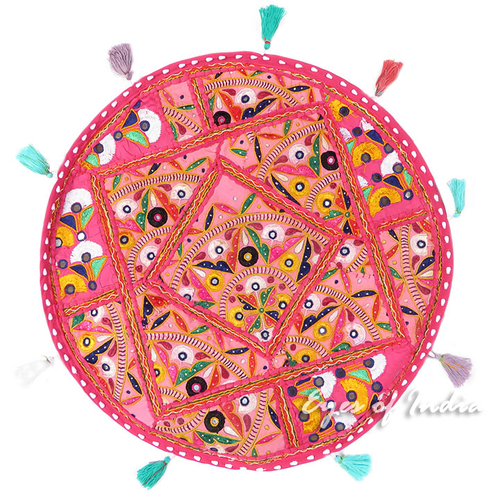 """Pink Boho Decorative Patchwork Round Floor Cushion Bohemian Seating Meditation Pillow Throw Cover - 22"""""""