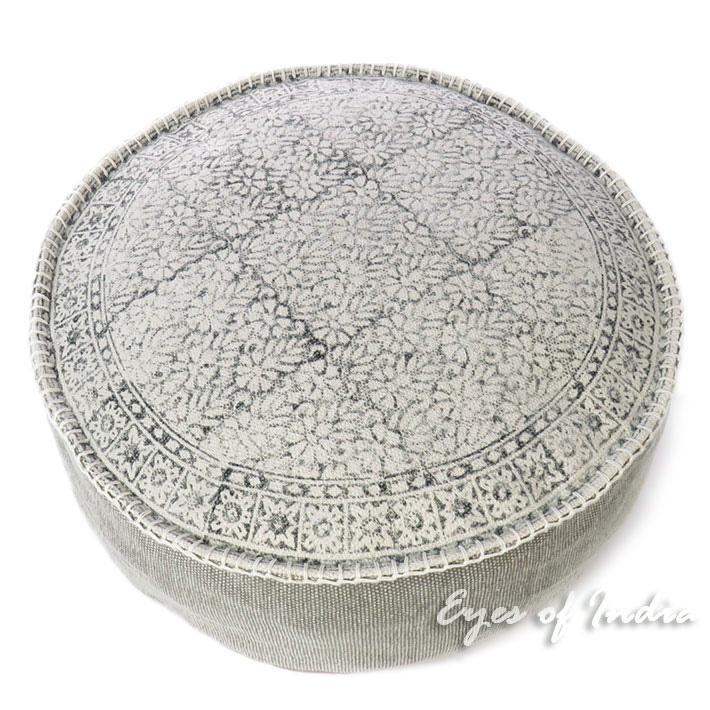 "Gray Round Dhurrie Block Print Boho Ottoman Pouf Pouffe Floor Seating Cover - 24 X 8"""