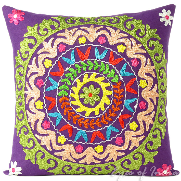Colorful Pillows For Sofa: Purple Green Colorful Decorative Embroidered Sofa Throw