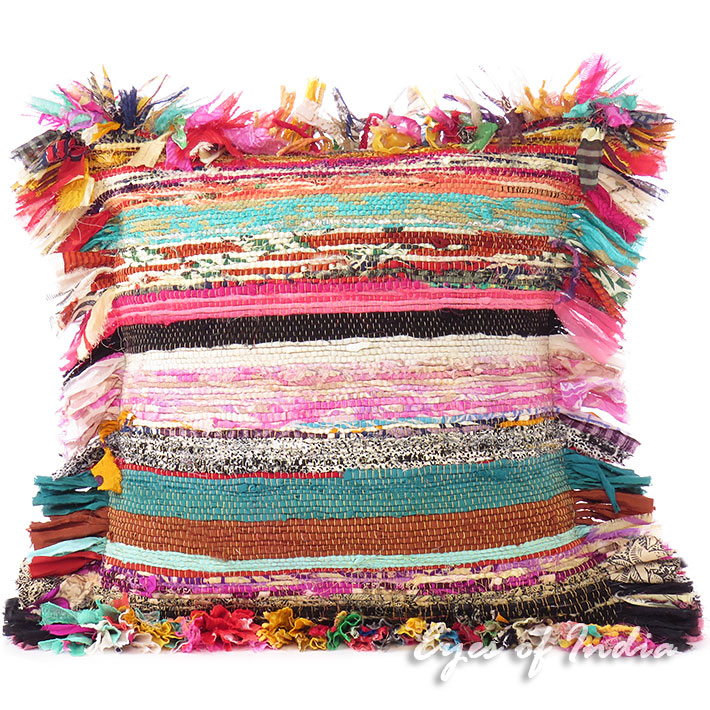 "16"" Colorful Chindi Rag Rug Decorative Sofa Cushion Couch Pillow Cover Throw Bohemian Boho"