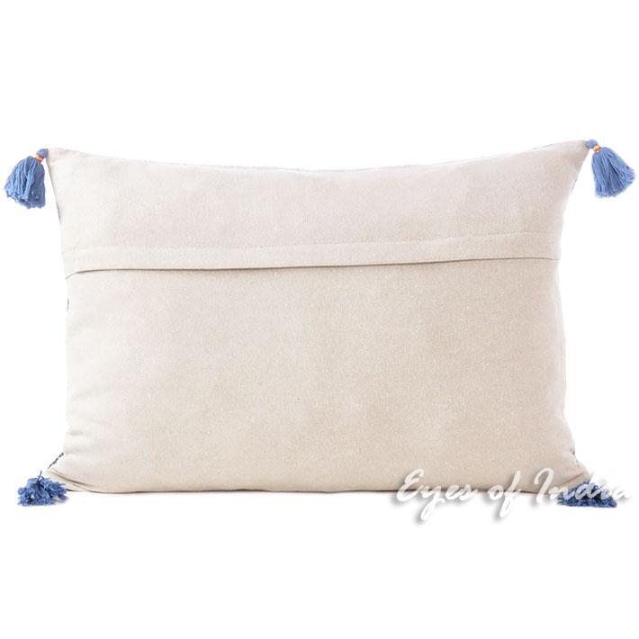 Black Blue Dhurrie Printed Colorful Decorative Lumbar Long Bolster Throw Pillow Cushion Cover 16 X