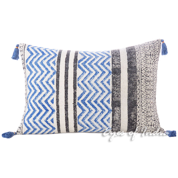 Black Blue Dhurrie Printed Colorful Decorative Throw Lumbar Long Bolster Sofa Cushion Couch Pillow Cover - 16 X 24""