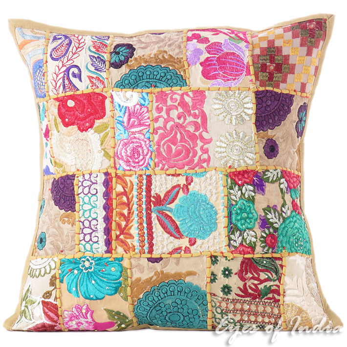 Pleasant Brown Patchwork Colorful Decorative Boho Sofa Throw Pillow Bohemian Couch Cushion Cover 16 Pdpeps Interior Chair Design Pdpepsorg